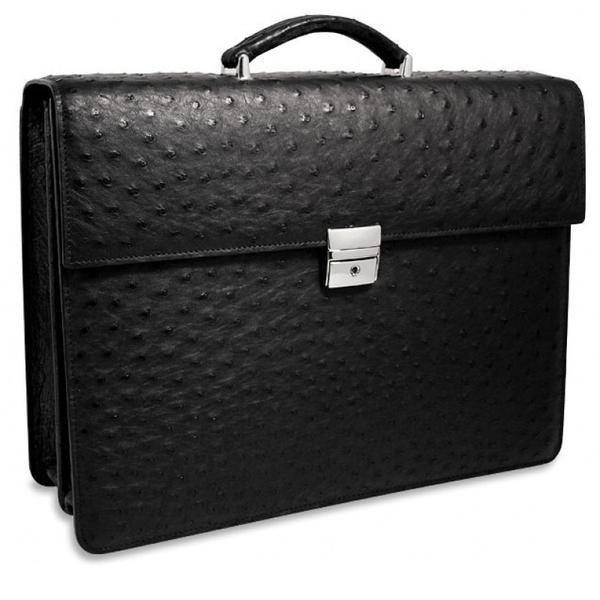 Genuine Ostrich Double Gusset Flapover Leather Briefcase #OS-422